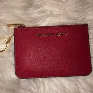 Red Michael Kors Jetset Travel Keychain Wallet